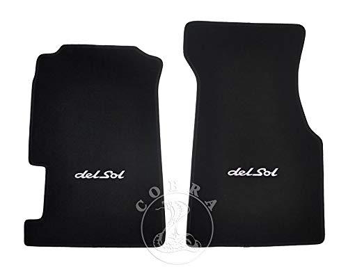 (Cobra Auto Accessories Floor MATS Carpet + DEL SOL Logo (White) FITS Honda CRX DEL SOL 92 93 94 95 96 97 98 )