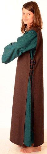 Damenkleid Baumwolle Leinenstruktur HEMAD S mit grün Skapulier Damen Braun Mittelalter XL Kleid mit Grün qvqrP68
