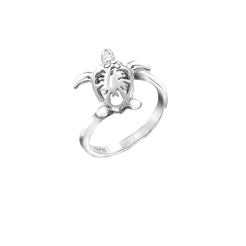 Sterling Silver Hawaiian Turtle Honu Hibiscus Ring with CZs, Size - Ring Silver Hibiscus