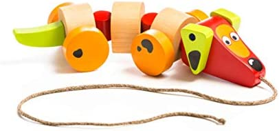 Wise Elk Sausage Dog Push & Pull Toy for Toddlers Great Birthday Gift for Kids from 1 2 3 4 5 Year 100% Eco-Friendly Kids Toy Wooden Toy for Kids.