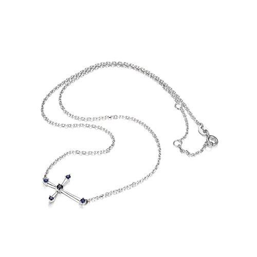JewelryPalace 0.25ct Saphir de Synthese Mignonne Croiser Collier en Argent 925
