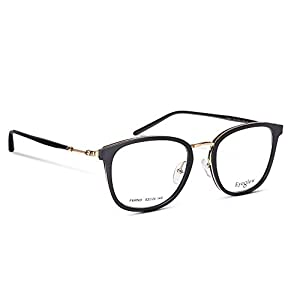 EyeGlow Glasses Frame Prescription Eyeglasses Frame Metal + Acetate 52-20-145 (Black golden, 52)