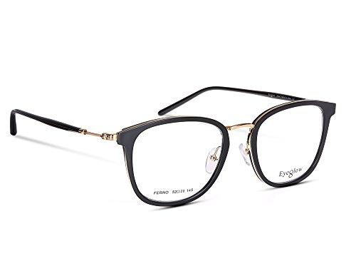 EyeGlow Glasses Frame Prescription Eyeglasses Frame Metal + Acetate 52-20-145 (Black golden, - Frames Eyeglasses Online