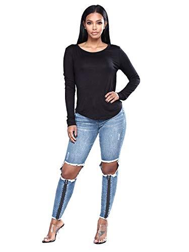 Lavati Da Jeans DAMENGXIANG Blue Donna Sfrangiati Aderenti Attillati Fori tB11dq0w