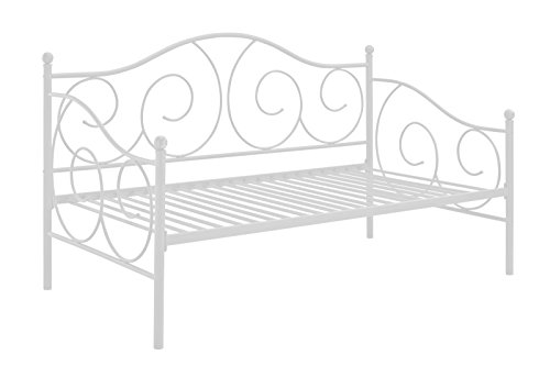 DHP Victoria Daybed Metal Frame, Multifunctional, Includes Metal Slats, Twin Size, White