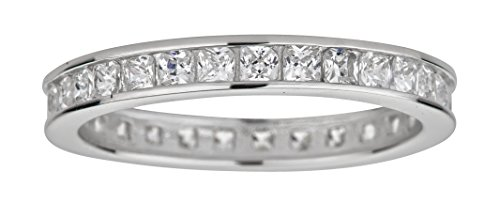 Channel Set Stackable (Sterling Silver Rhodium 3.30mm Princess Cut Channel Set Cubic Zirconia Eternity Band Stackable Ring)