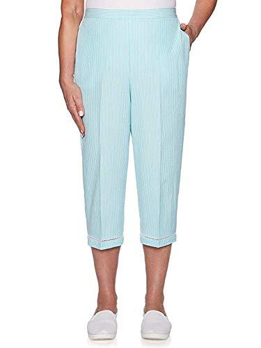 (Catalina 22 , Women S Catalina Island Seersucker Stripe Capri Pants, Womens Island Pants Aqua)