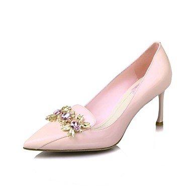 de Pink tacón y la las Talones noche del de Verano partido Zapatos boda club vestido aguja del Comfort de de Invierno Otoño RhinestoneBlack Primavera patente mujeres de del cuero 4Sx6Saf