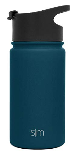 Simple Modern 14 oz Summit Kids Water Bottle - Travel Mug Stainless Steel Flask +2 Lids - Wide Mouth Double Wall Vacuum Insulated Blue Leakproof Thermos -Riptide