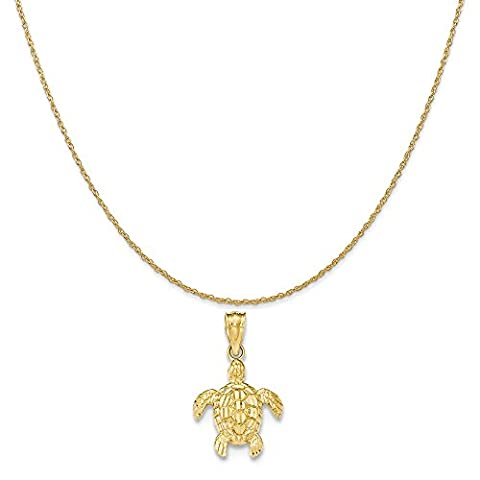 14k Yellow Gold Polished and Textured Small Dc Turtle Pendant on 14K Yellow Gold Rope Necklace, 18