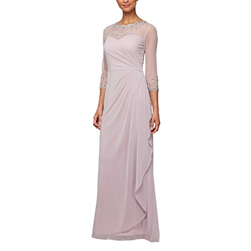 Alex Evenings Women's Long A-Line Sweetheart Neck Dress (Petite and Regular Sizes), Smokey Orchid, 16