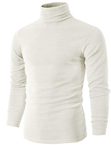 H2H Men's Big and Tall Fine Gauge Solid Turtleneck Pullover Sweater White US 2XL/Asia 5XL (KMTTL028)