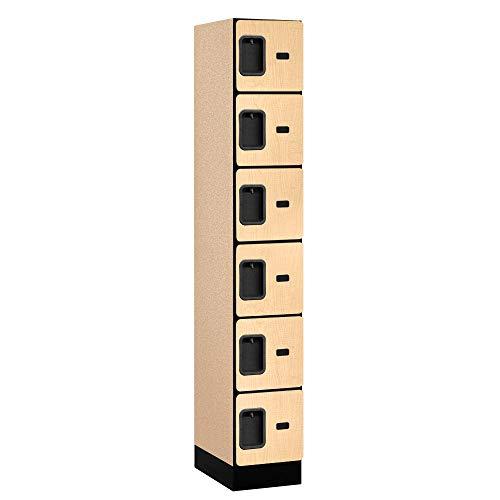 Salsbury Industries 6-Tier Box Style Designer Wood Locker with One Wide Storage Unit, 6-Feet High by 18-Inch Deep, Maple