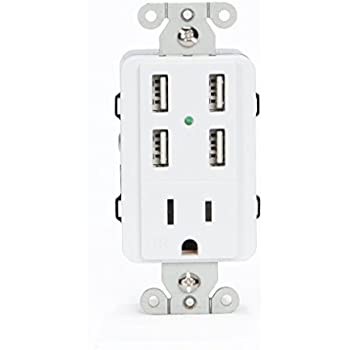 UL Listed U-Socket ACE 9105 15-Amp AC Wall Outlet / Receptacle with 4 Built-In USB Charger Ports, Tamper Resistant, White - Fast 4.2 Amps charging.