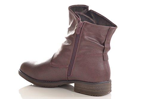 Damen Stiefel Stiefelette warm gefüttert hochwertige Lederoptik Boots Biker Combat 936 PA Rot