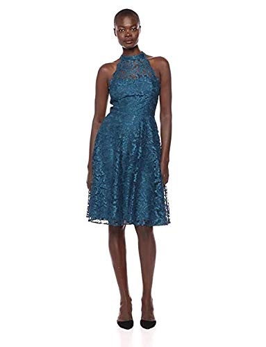 Eliza J Women's Lace Halter Fit and Flare Dress, Teal, 10 from Eliza J