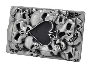 [Ace Of Spades Black Skull Belt Buckle Goth Gothic Unique Metal New Hip Cool] (Spade Buckle)