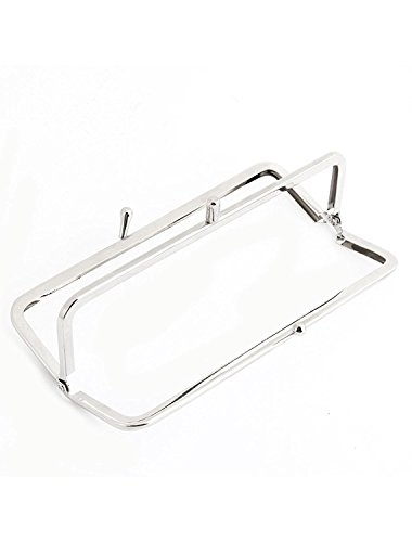16,51 cm Lungo doppio Kiss Lock chiusura struttura in metallo per borsa con Silver Tone