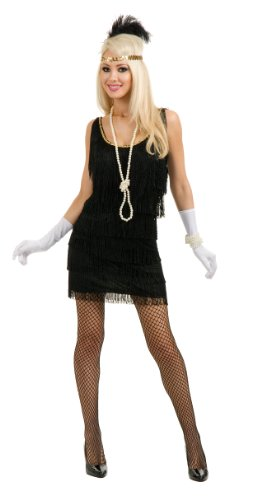 [Adult Flapper Dress Flapper Costume 1920s Flapper Dress Chicago Flapper 00768 (Medium, Black)] (20s Gangster Adult Costumes)