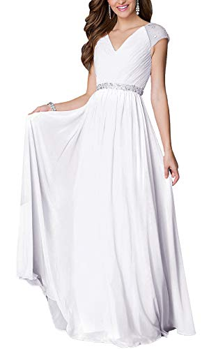 (Aofur Womens Evening Dress Ball Gown Prom Party Wedding Formal Long Chiffon Maxi Dresses Plus Size (Medium, White))