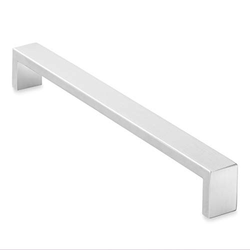 (Cauldham Solid Stainless Steel Cabinet Hardware Square Handle Pull Brushed Satin Nickel 8-3/4