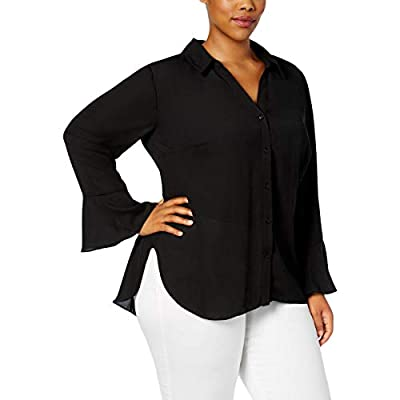 NY Collection Womens Plus V Neck Flare Button-Down Top