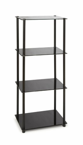 Convenience Concepts Designs2Go Midnight Classic 4-Tier Glass Tower, Black (Media Display Tower)