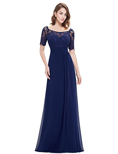 Ever-Pretty Womens Short Lace Sleeve Floor Length Empire Waist Mother Of The Bride Dress 6 US Navy Blue