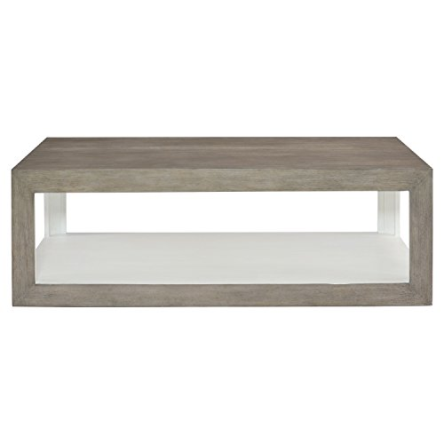 Kathy Kuo Home Marqua Coastal Rustic Grey Wood White Interior Coffee Table