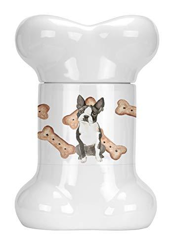 Terrier Cookie Jar - Caroline's Treasures CK2308BSTJ Boston Terrier Bone Shaped Treat Jar, 9 in in, Multicolor