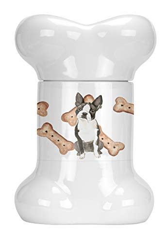 Caroline's Treasures CK2308BSTJ Boston Terrier Bone Shaped Treat Jar, 9 in in, Multicolor