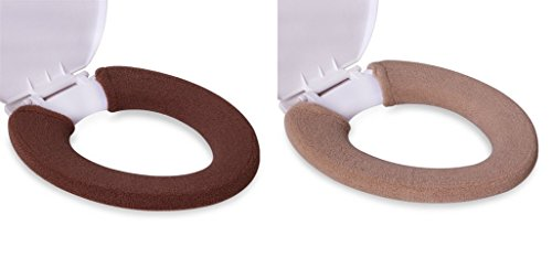 Elongated Toilet Tank Cover - KLOUD City 2Pack Soft and Warm Thicken Toilet Seats Covers (Coffee/Light Coffee)
