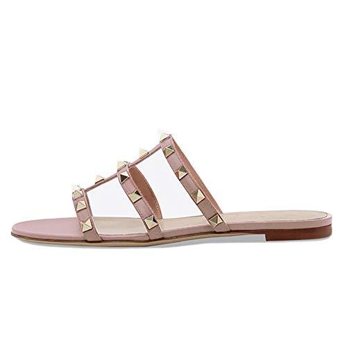 VOCOSI Womens Flat Heel Sandals with Rivets Slide Slipper Dress for Casual Summer