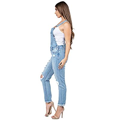 Love Moda Women's Distressed Regular Slim Fit Overalls - Size Small to 3XL: Clothing
