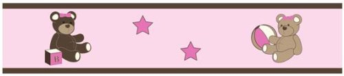 Pink Teddy Bear Design (Sweet Jojo Designs Pink and Chocolate Teddy Bear Girls Baby and Kids Wall Border)