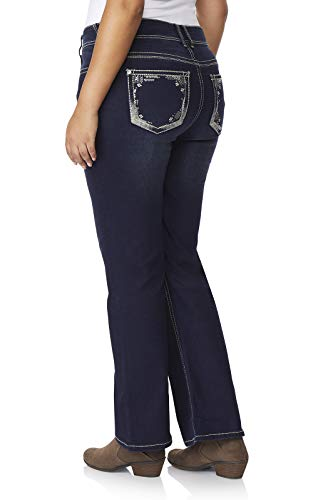 WallFlower Women's Plus-Size Luscious Curvy Embellished Bootcut Jeans in Panther, 22 Plus