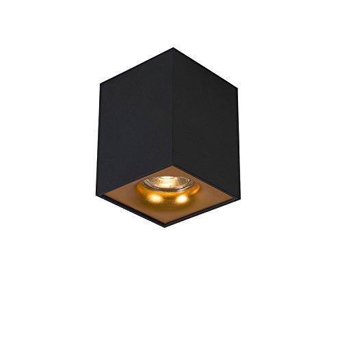 QAZQA – Moderne spot zwart met goud – Quba delux | Woonkamer | Slaapkamer | Keuken – Staal Kubus – GU10 Geschikt voor…