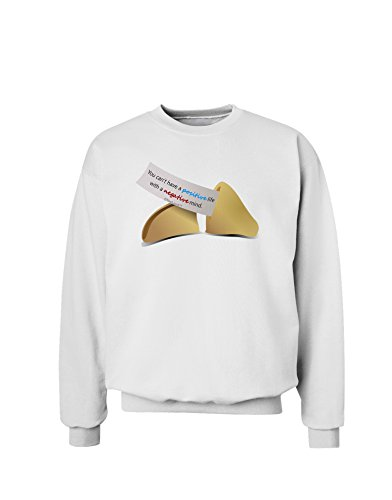 TooLoud Positive Life - Fortune Cookie Sweatshirt - White - (White Fortune Cookies)