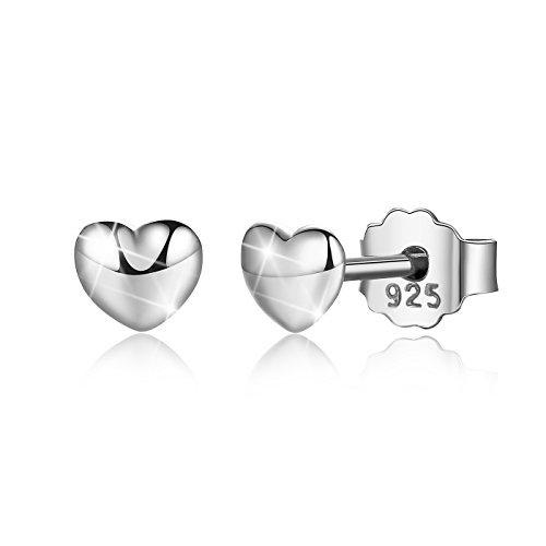 Bamoer White Gold Plated Heart Button Post Earring Stud for Women ()