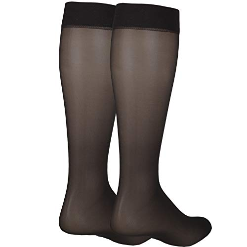 NuVein Sheer Compression Stockings for Women Fashion Silky Sheen Denier Knee High, Black, Small