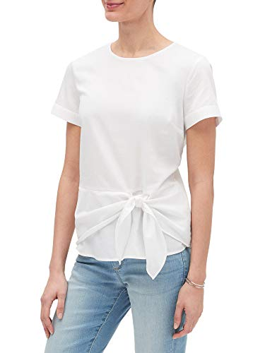- Banana Republic Womens 100% Cotton Tie Front Short Sleeve Off White (Large)