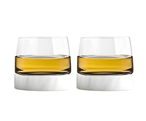 Cooling Carafe - Godinger Whisky Glass Old Fashioned Tumbler and Cooling Stone Coaster - Set of 2