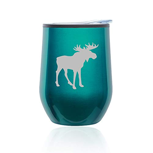 Stemless Wine Tumbler Coffee Travel Mug Glass with Lid Moose (Turquoise Teal)