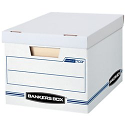 Bankers Box Stor/File Storage Box with Lift-Off Lid, Letter/Legal, 12 x 10 x 15 Inches, White, 12 Pack (00703)