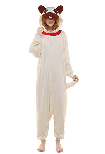 Newcosplay Adult Unisex Dog-Pug Onesie Pajamas Costume (L,