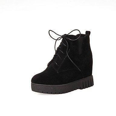invierno ronda oficina plana carrera de de beige al cordones aire zapatos nobuck otoño libre mujeres marrón talón botas Toe para negro piel negro y Desy comodidad de wWOxznRPq