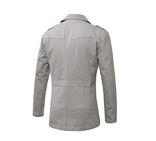 Collar Long Short Sleeve Down Trench Parka Winter Coat Jacket Coat Fit Grau Classic BoBoLily Slim Men's Casual Coat Turn aSXwE1n5qx