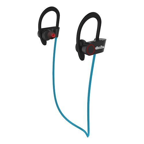 allimity Wireless In-Ear Noise Cancelling Earbuds Sweatproof Bluetooth Sports Headphones with Mic Anti-slip Earhook for Cycling, Jogging, Biking, Exercise, Workout(Blue)[Upgraded Version]