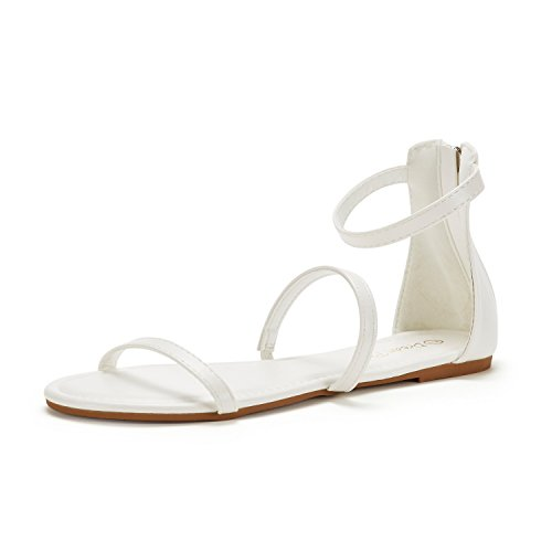 DREAM PAIRS Women's Athena_Low White Pu Fashion Gladiator Design Ankle Strap Flat Sandals Size 6 M US -