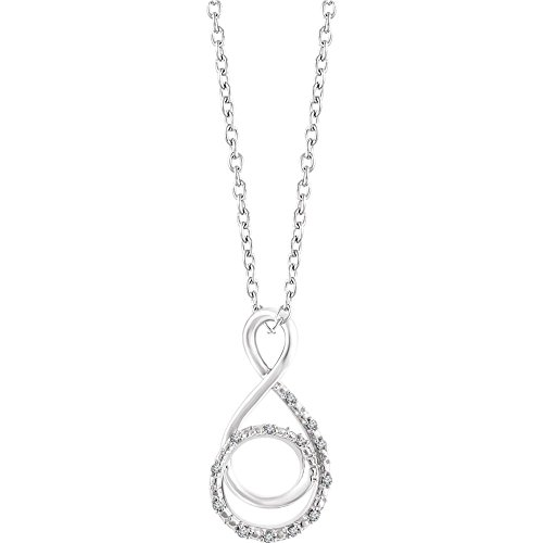 Sterling Silver Polished .05 Dwt Diamond Freeform 16-18 Inch Necklace